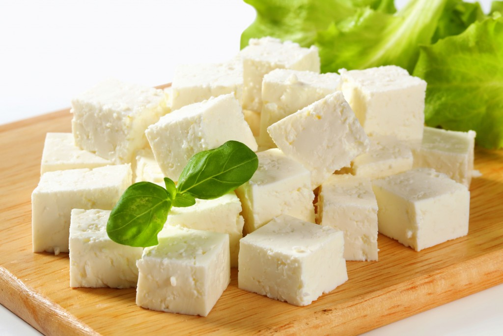 Cubes of feta cheese on a plate
